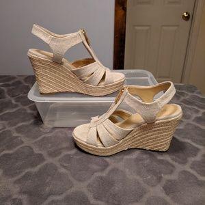 Zip up wedge sandals